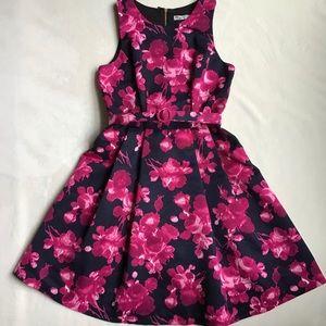 Eliza J Pink Navy Floral Fit & Flare Dress, 8